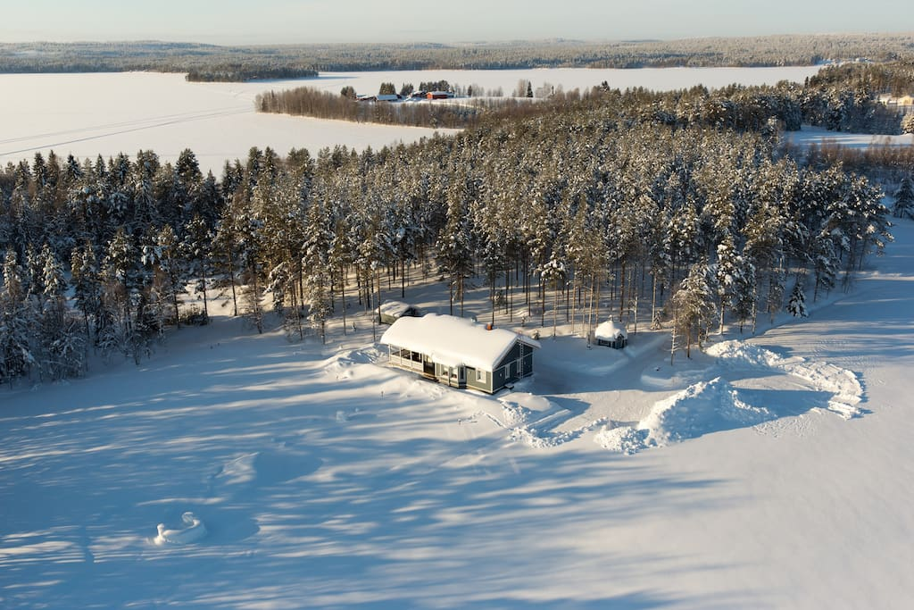 Aerial shot of the cottage