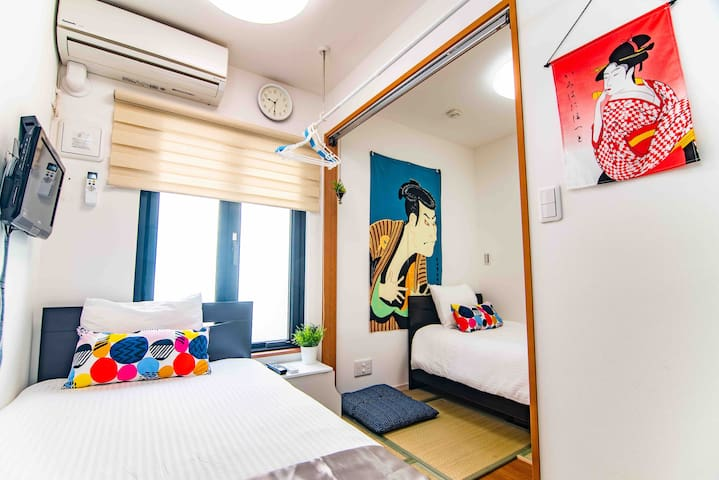 Hotel apartment JR亀戸(秋葉原錦糸町東京駅押上浅草迪士尼台場新宿成田羽田空港超便利