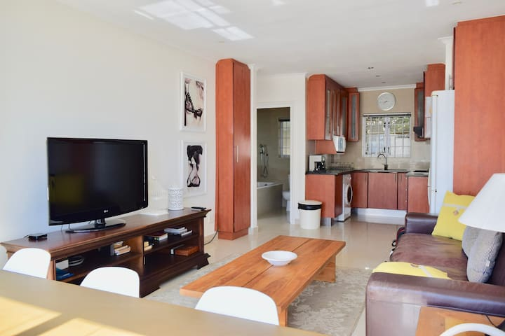 Open plan living space, TV with Apple TV