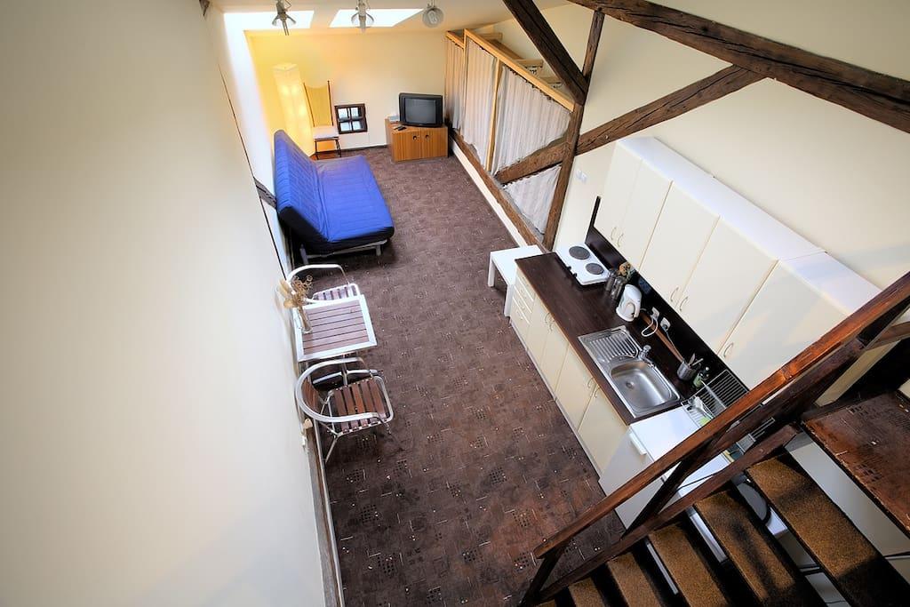 living room/kitchenette