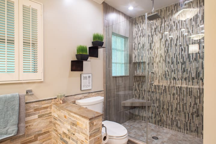 You will love the double headed rain shower.  This is by far what my guests rave the most about.