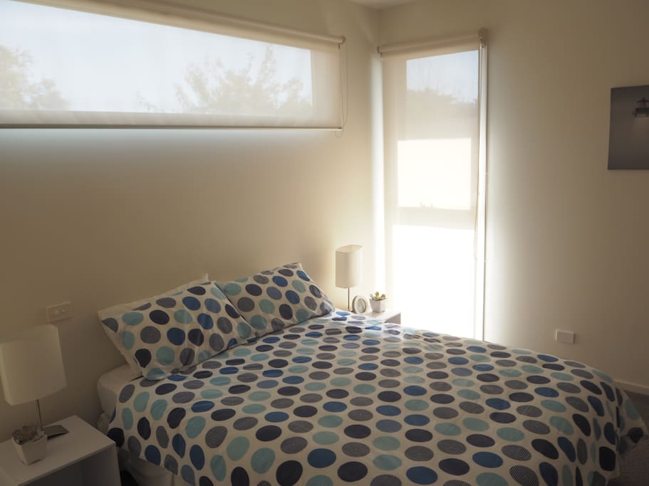 Master bedroom wth attached ensuite and built in robes.