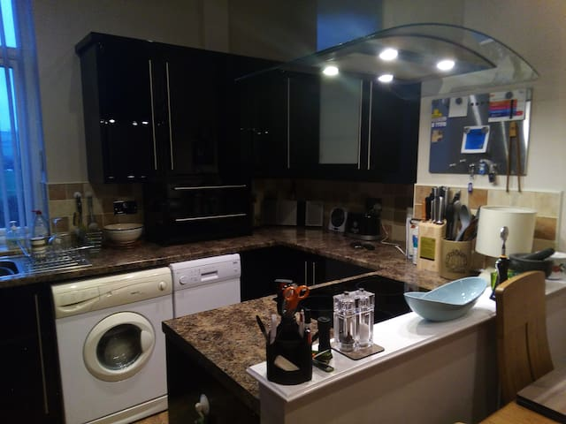 modern fitted kitchen with hood over induction hob