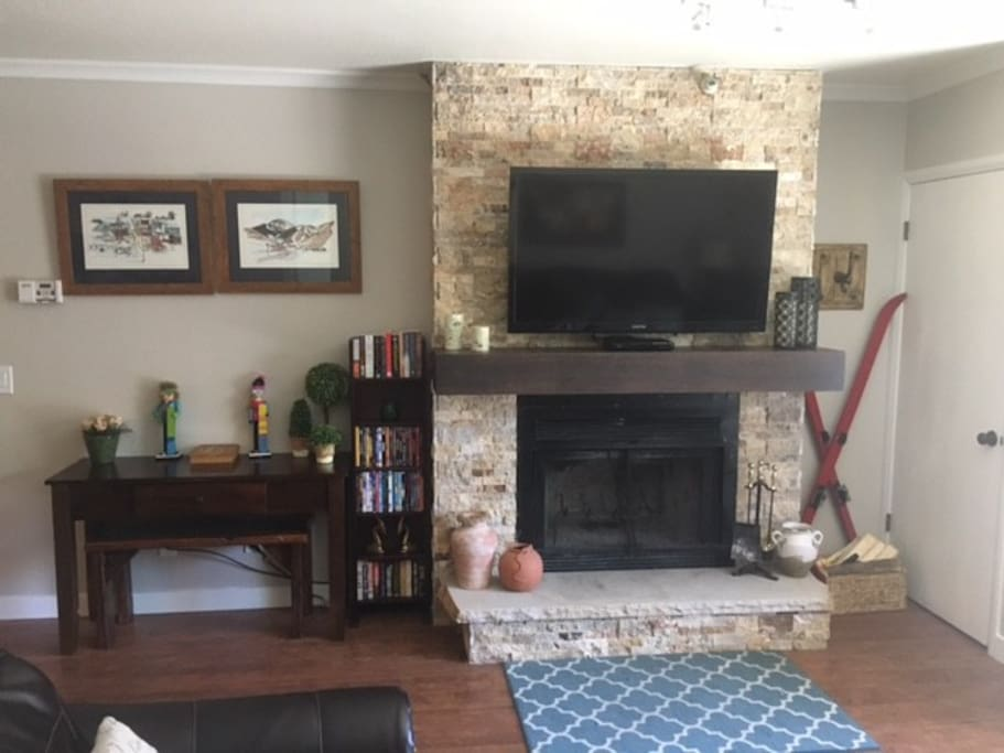 Real wood working fireplace with a walk-out balcony with incredible views of the mountain, Town Lift & Historic Main Street!