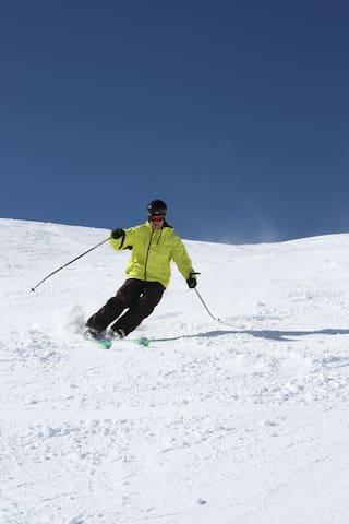 Empty pistes on our doorstep at Superbagneres ski resort