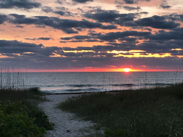 This breathtaking sunrise is just a 3 minute walk from your suite!