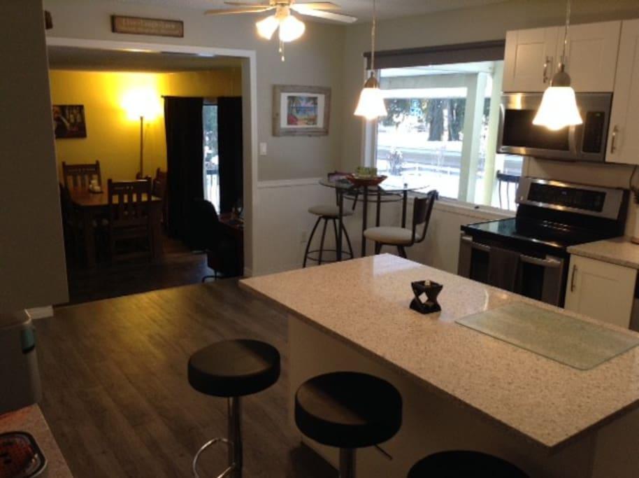Great kitchen, sunken living room