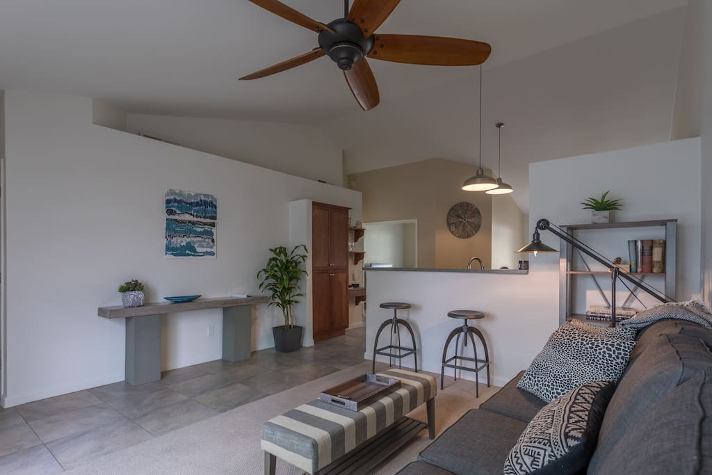 All of the rooms have a vaulted ceiling and brand new furniture.  The family room opens to the kitchen and is perfect for conversing with friends and family.