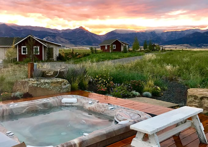 Our hot tub is centrally located to accommodate all the cabins in a private out of the way setting.