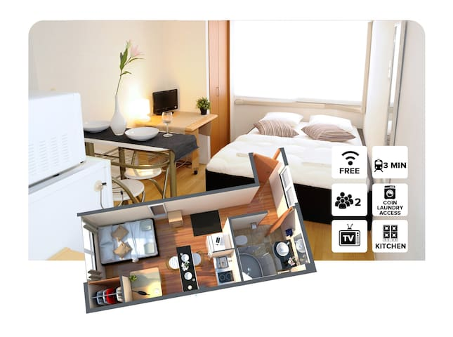 #2A Private Apartment 1 stop from Namba station! - โอซาก้า