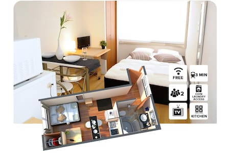 #2A Private Apartment 1 stop from Namba station! - 大阪 - 公寓