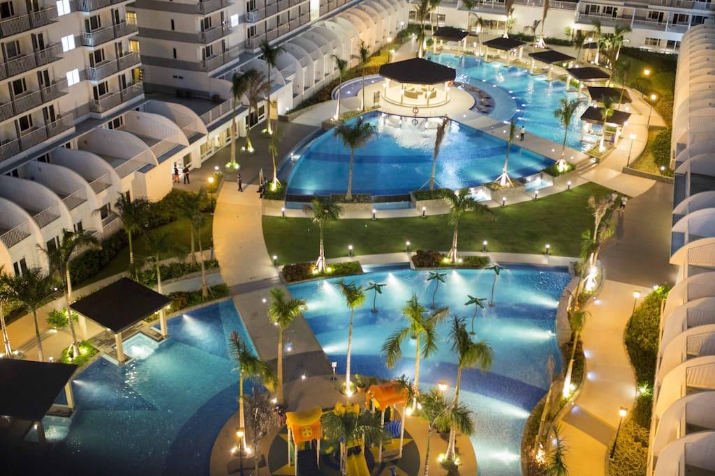 Elegant pool at night