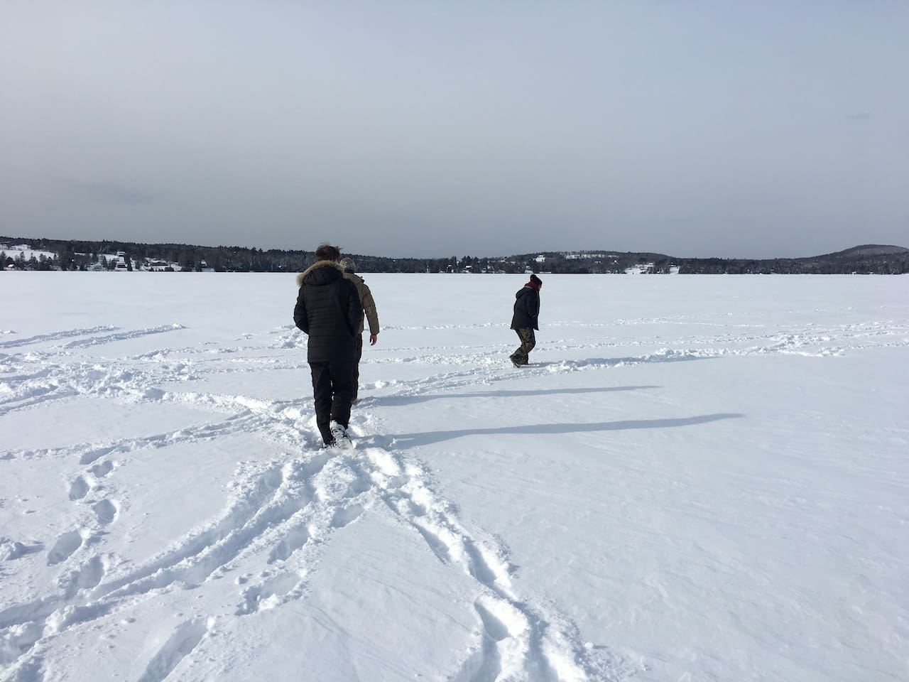Walking across Caspian Lake, a mere 20 minutes from the cottage.