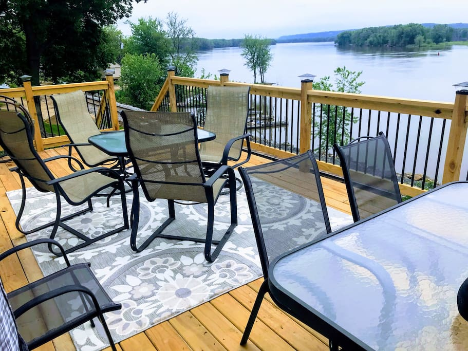 Don't you want to have coffee here?! The large deck has a few tables and lots of seating.