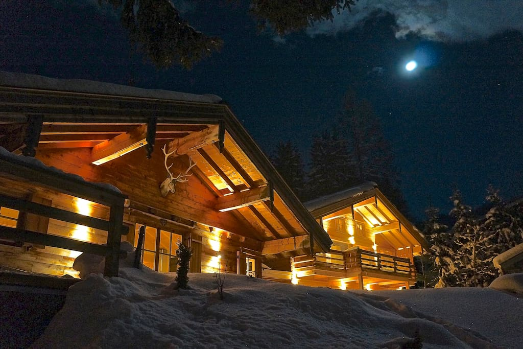 Romantic Chalet in the foreground