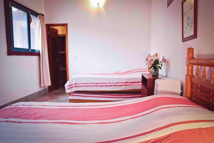 Habitación 4 tiene una cama queen , una twin y dos camitas que salen de abajo de las camas . Aire acondicionado portátil y ventilador de techo