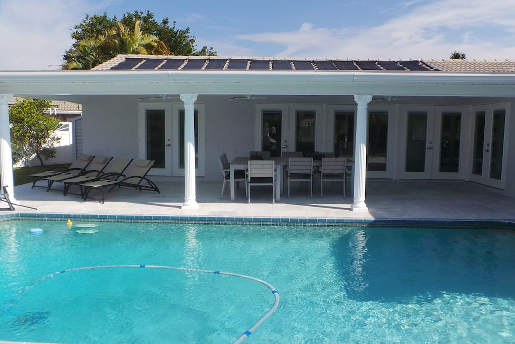 Pool heated by solar panels