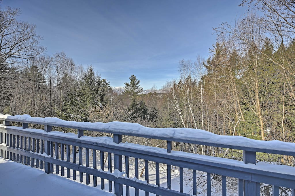 Take in the epic views of Stowe Mountain Resort from the back porch.