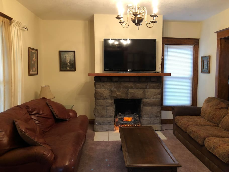 Large Living Room with Leather Foldout Couch