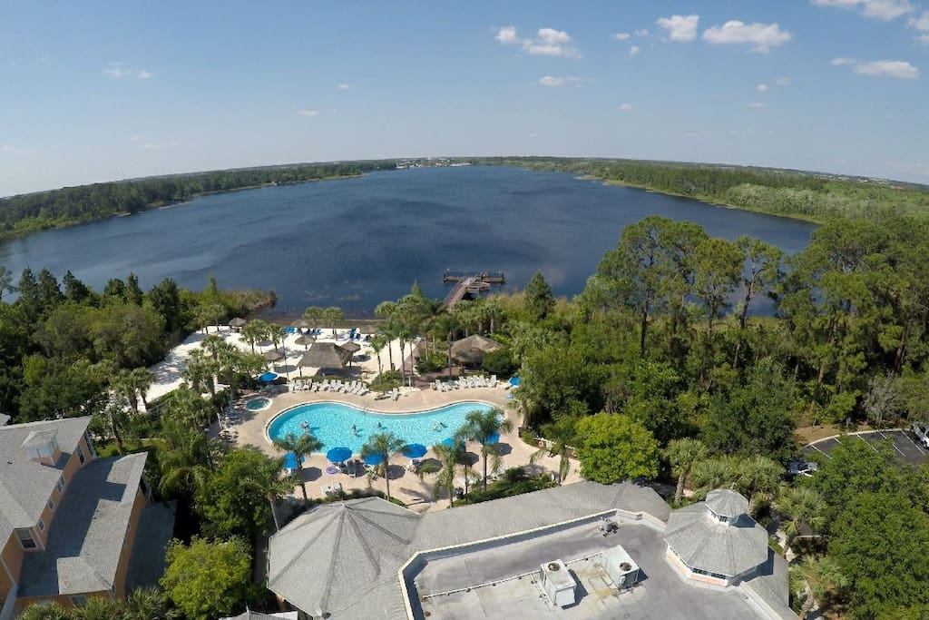 Aerial view of the main pool and fishing deck
