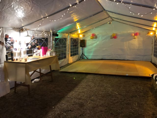 As decorated by our guests. Dancefloor, 3.6m x 4.5m.  You'll need to bring your own lights and sound.  Talk to us if you would like us to arrange this for you.