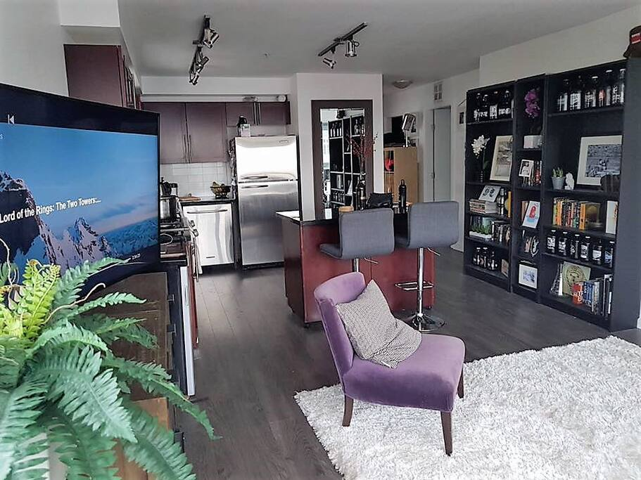 Open plan living room and kitchen with gas stove