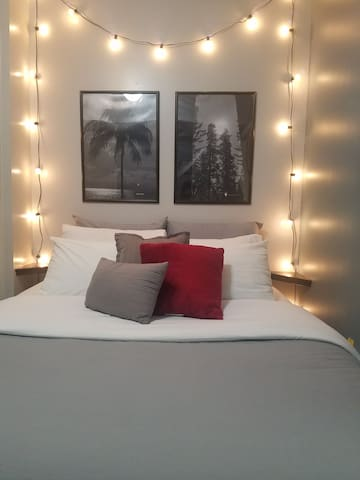 Serta queen size bed with controllable bedroom lights.