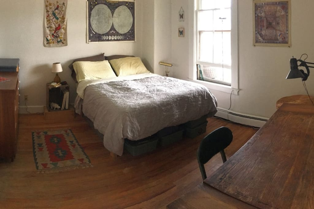 The bedroom has one double bed