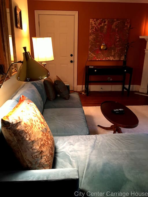 Sunny, cozy, large living room.  DISH network with HBO, super fast internet