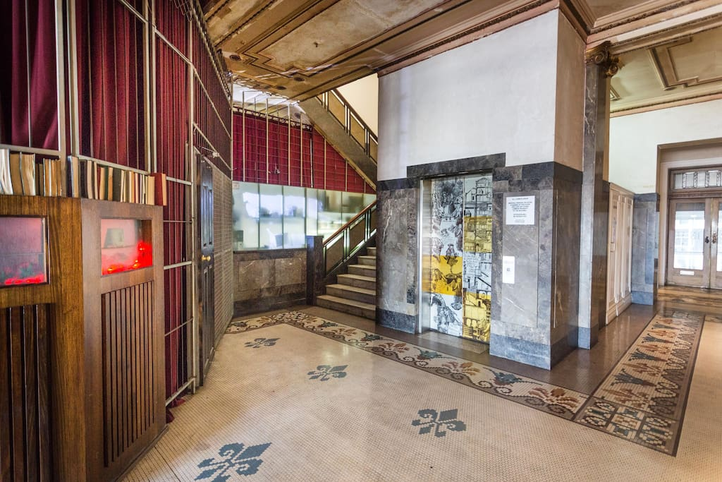 Entry foyer and lift to apartment