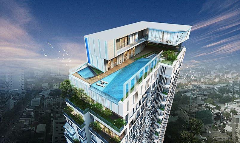 Cozy studio in great location,WiFi,Pool,Gym - Bangkok - Condominium