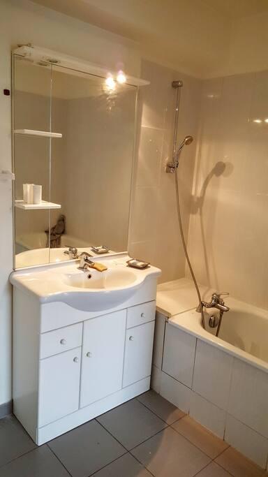 grande salle de bain avec wc integre