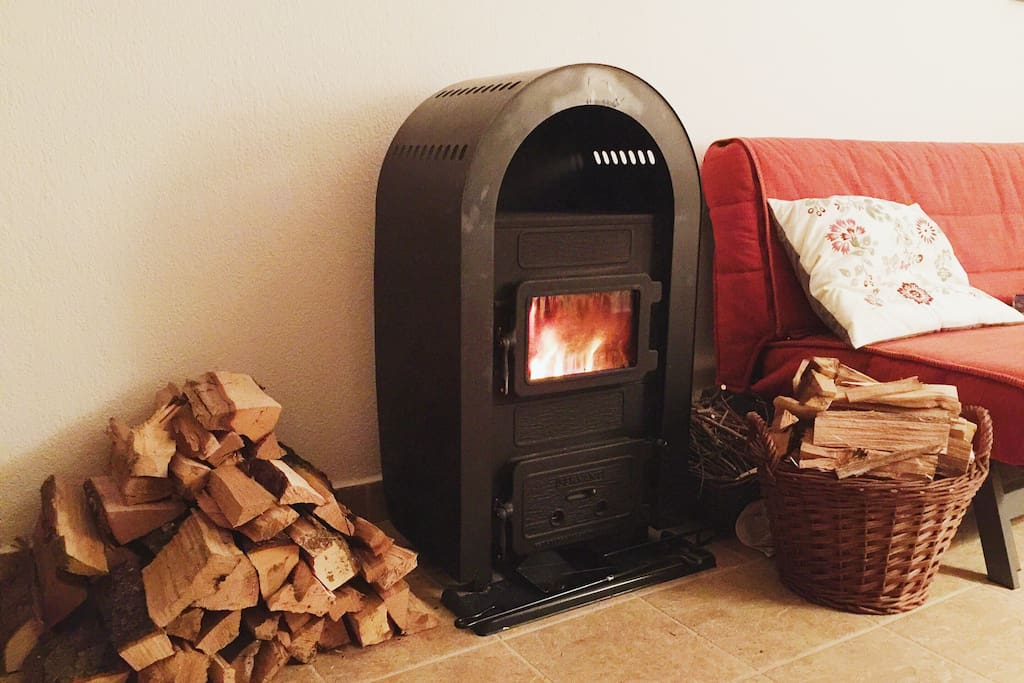 wood-burning stove in the living room