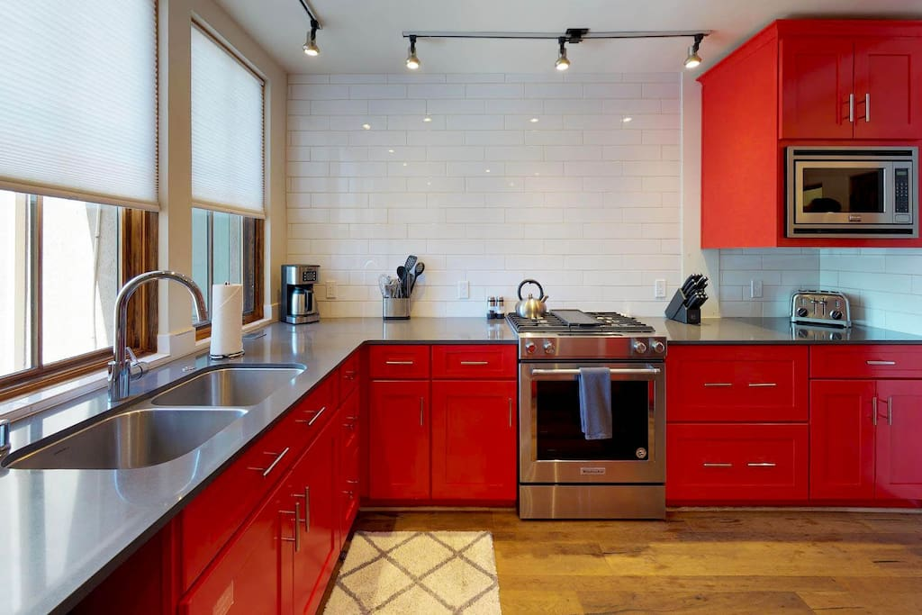 Kitchen with spacious granite counter tops