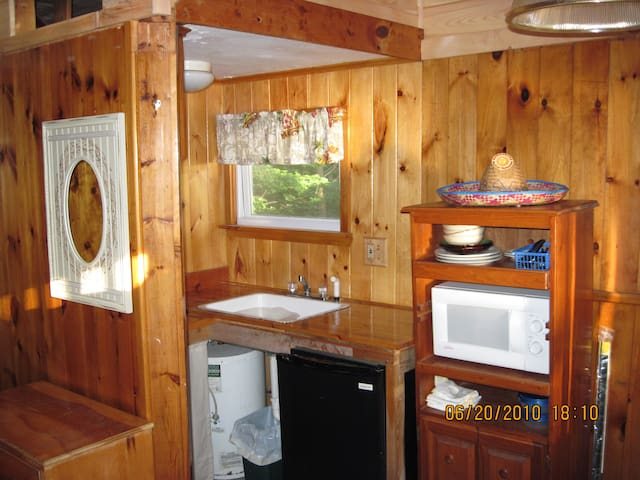 Kitchen area with 2 burner cooktop, Small refrigerator, Microwave toaster & coffee maker