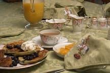 Breakfast served on antique china, Nippon Azalea Pattern