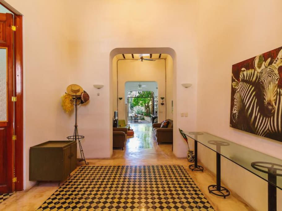 Entry room through to pool.