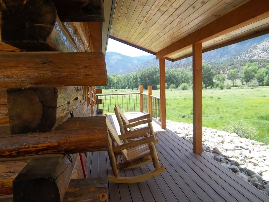 Front porch looking over river bottom and mountains