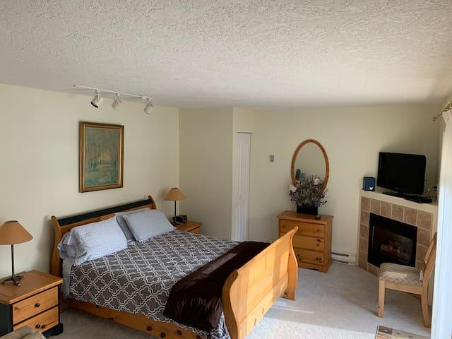 Queen bed, closet, dresser, TV