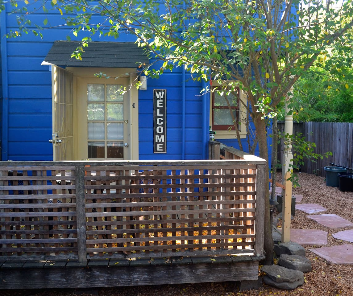 Entrance to Blue Bungalow.