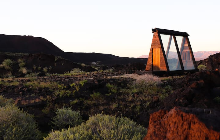 Volcanic Off-Grid Log Cabin!
