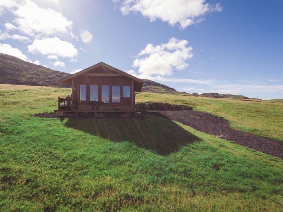 The cabin on its own. You will have your privacy but the horses and sheep might visit!  The Golden Circle isn't far away, amongst many other popular attractions.