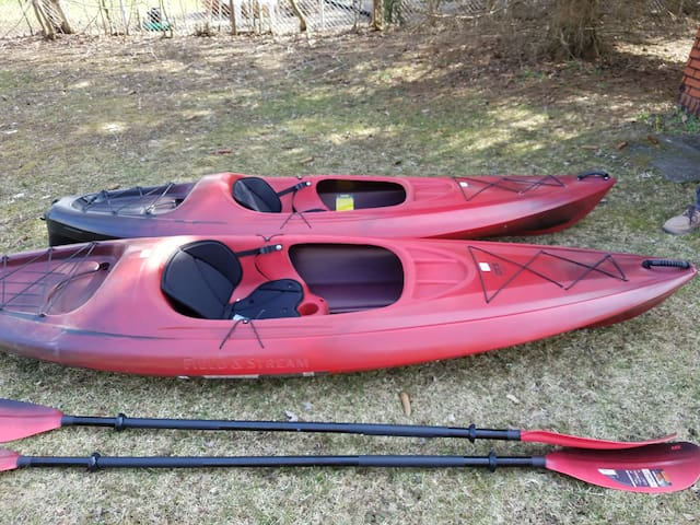 2 Kayaks (w/ paddles and life jackets) free for your use.  You transport.