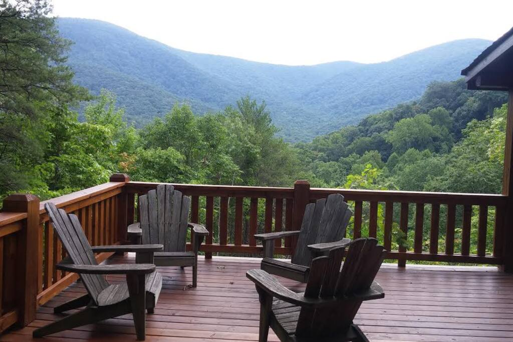 Gorgeous view from the deck and the back of the cabin