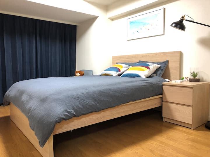 涩谷站步行6分,道玄坂街道时尚两室一厅大阳台民居,独立空间,两个双人床