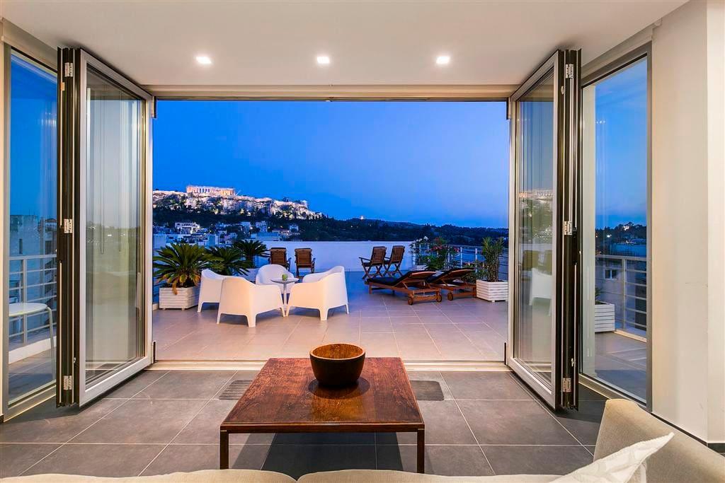 Large private Terrace overlooking Acropolis, Parthenon, Plaka, Filopappou, Monastiraki and the city of Athens