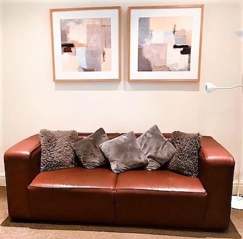 Leather settee rear lounge