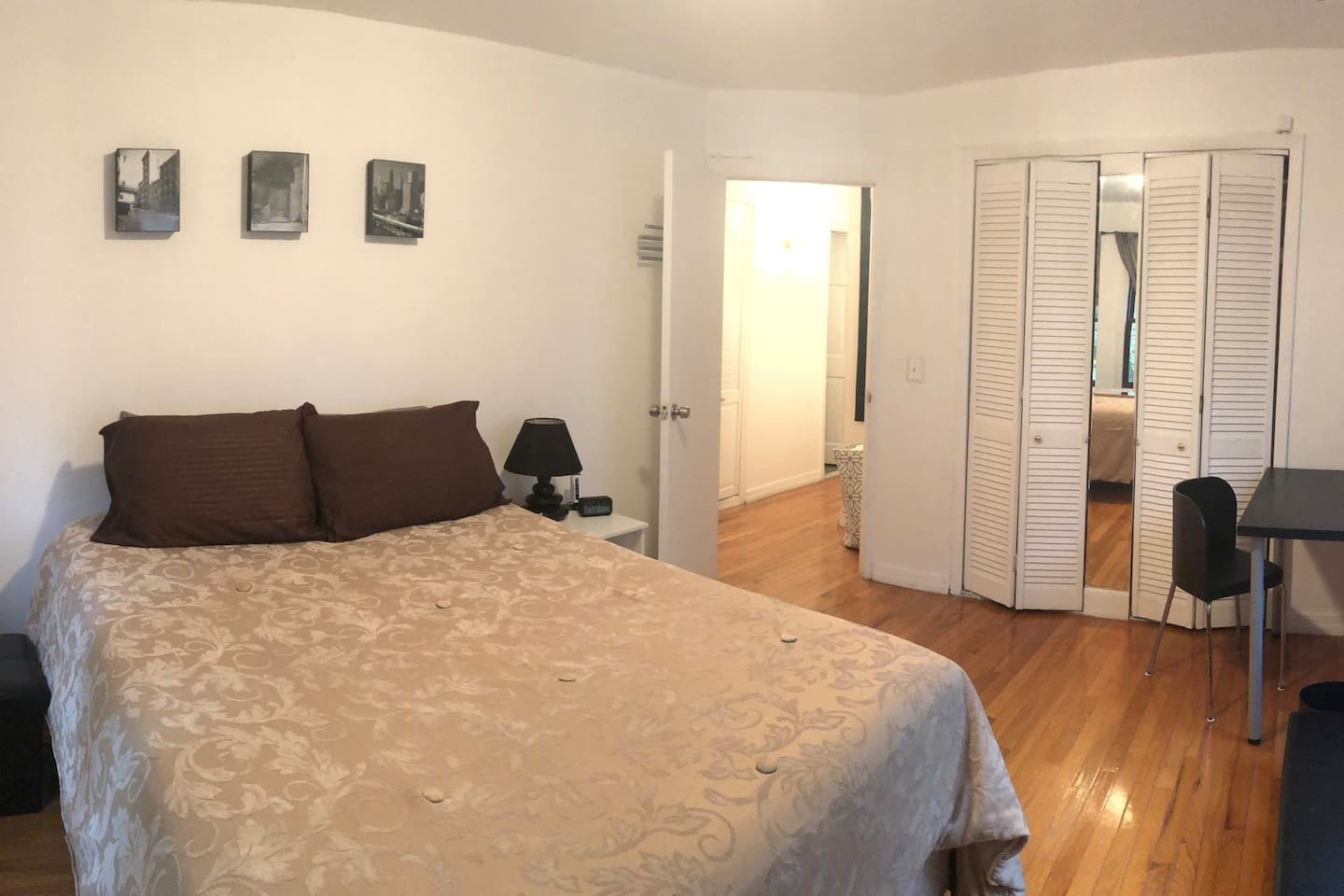 Spacious private bedroom with Queen size bed and great closet space with natural light.