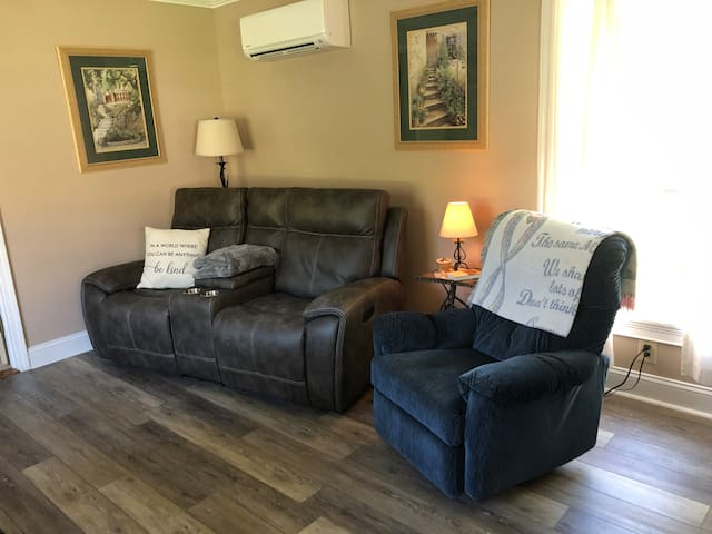 Relax and unwind on the most comfortable furniture! Power reclining couch or the rocker recliner.