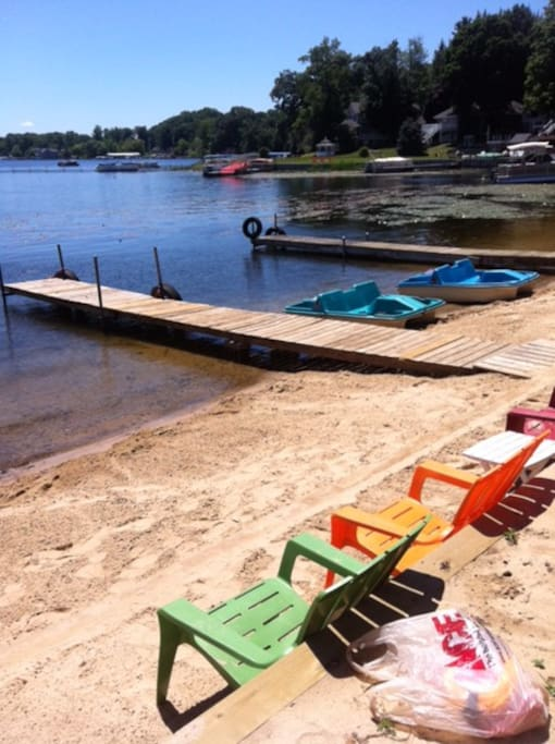 Paddleboats, row boats, beach chairs, piers, swim raft, life jackets & more!